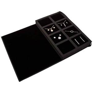 Mappe til præsentation af smykker, med sleeve Sort kraftpapir med velour / Sorte skumindsatse 180 x 286 x 34