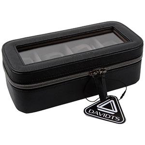 Watch Case for 4 Watches Black PVC with zipper / Dark grey velours interior 327 x 210 x 86