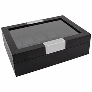 Watch Case with Window, for 10 Watches Black Wood / Black leatherette Interior 315 x 233 x 96