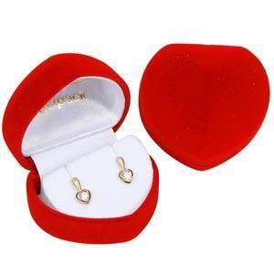 Baltime sieradendoosje voor oorbellen, hartvormig Rood geflockt kunststof / Wit velours interieur 50 x 45 x 38