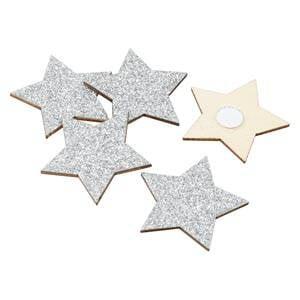 Glitter Stars, 96 pcs per pack Silver  35 mm