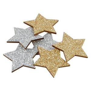 Glitter Stars, 96 pcs per pack Mixed colours  35 mm