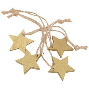Wooden stars on rustic string, 36 pcs. Gold-coloured wood / Jute string  35 mm