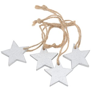 Wooden stars on rustic string, 36 pcs. Silver-coloured wood / Jute string  35 mm