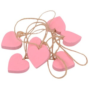 Houten hartje aan rustiek koord, 24 st. Roze hout / Jute touw 20 x 20 20 x 20 mm