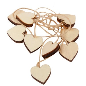 Wooden Heart on rustic string, 24 pcs. Wood / Jute string 20 x 20 20 x 20 mm