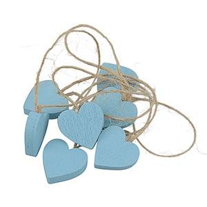 Houten hartje aan rustiek koord, 24 st. Blauw hout / Jute touw 20 x 20 20 x 20 mm
