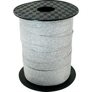Glitter Krullint, breed Zilver  10 mm x 100 m