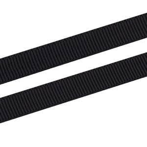 Geribbeld Satijnlint, smal Zwart  Grosgrain Lint  9 mm x 91,4 m