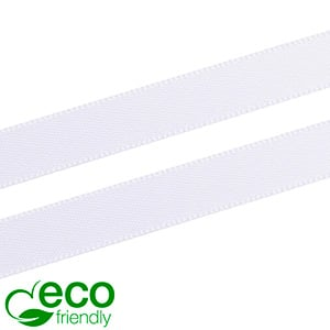 ECO Satin ribbon, slender White  9 mm x 91,4 m