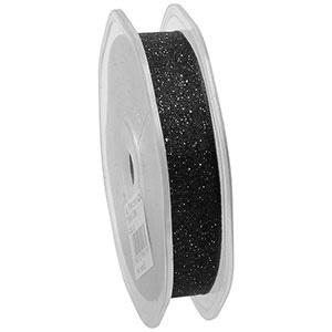 Glitter Organzalint, smal Zwart  16 mm x 20 m