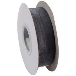 Organza ribbon Black  25 mm x 45,7 m