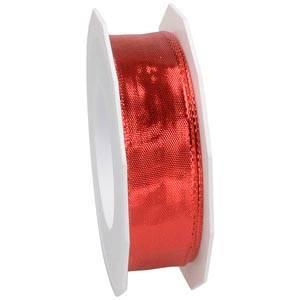Stijf metallic lint met draadkant, Rood Rood, breed  25 mm x 20 m
