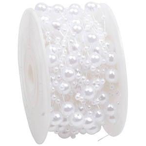 Ruban de fil avec perles en tailles différentes Blanc nacré  8 mm x 10 m