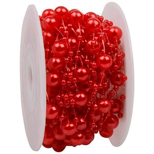 Ruban de fil avec perles en tailles différentes Rouge nacré  8 mm x 10 m