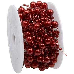 Ruban de fil avec perles en tailles différentes Bordeux nacré  8 mm x 10 m