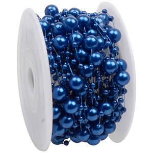 Lint met pareltjes in verschillende groottes Donkerblauw met parelglans  8 mm x 10 m