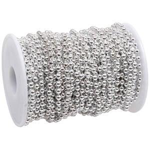 Lint met kraaltjes Metallic zilver  4 mm x 20 m
