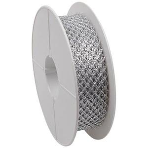 Ruban tissu souple à mailles métallisées Argent  25 mm x 20 m
