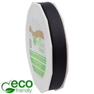 Geweven ECO visgraatlint Zwart  15 mm x 25 m