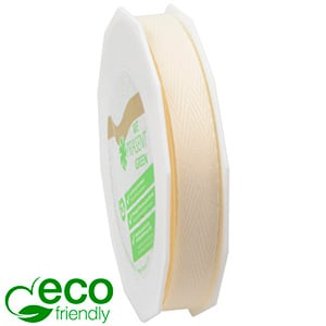 Woven Herringbone ECO Ribbon Cream  15 mm x 25 m