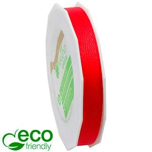 Vævet ECO bånd med sildebensmønster Rød  15 mm x 25 m