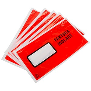 Faktura/Følgeseddellomme selvklæbende Rød - 500 Stk  234 mm x 132 mm