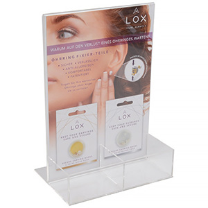 Display for LOX locks (German text) For 8 packs of secure earring backs