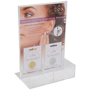 Display for LOX locks (Norwegian text) For 8 packs of secure earring backs