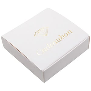 Foldable Box with Gift-certificate, 50 pcs White cardboard/ Pre-printed Dutch text in gold 100 x 100 x 30 NL