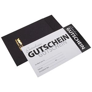 Moderne cadeaubon met envelop, 100 st. Witte cadeaubon, Duitse tekst / Zwarte envelop 150 x 80 DE