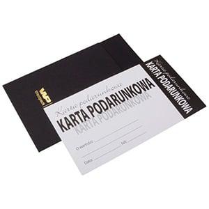 Moderne cadeaubon met envelop, 100 st. Witte cadeaubon, Poolse tekst/ Zwarte envelop 150 x 80 PL