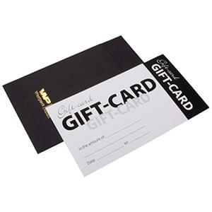 Moderne cadeaubon met envelop, 100 st. Witte cadeaubon, Engelse tekst/ Zwarte envelop 150 x 80 UK