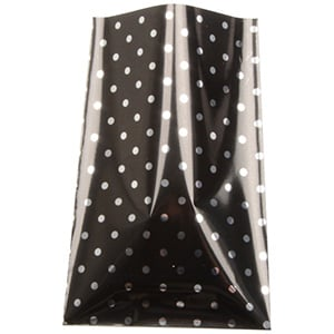 Small Foil Bag for Jewellery, 500 pcs Glossy Black with Silver Polka Dots 80 x 125