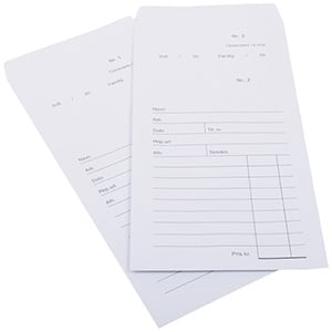 100 Voorgedrukte Reparatiezakjes zonder logo Wit zakje, genummerd en voorgedrukt formulier. 110 x 240 mm