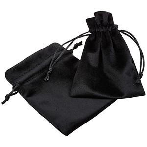 Luxury Velour Pouch, medium Black velour with black satin drawstring 90 x 120