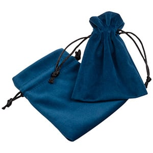 Luxury Velour Pouch, Small Petrol blue velour with black satin drawstring 90 x 120