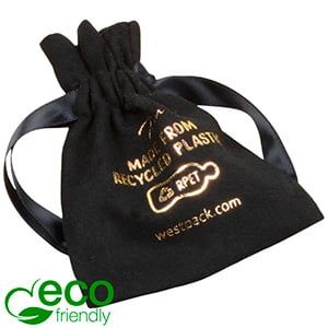 ECO Faux Suede Jewellery Pouch, Small 100% Recycled plastic, Black Gift Bag 75 x 90