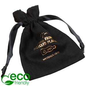 ECO Faux Suede Jewellery Pouch, Medium 100% Recycled plastic, Black Gift Bag 90 x 120