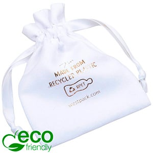 ECO Faux Suede Jewellery Pouch, Medium 100% Recycled plastic, White Gift Bag 90 x 120
