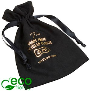 ECO Faux Suede Jewellery Pouch, Large 100% Recycled plastic, Black Gift Bag 110 x 155