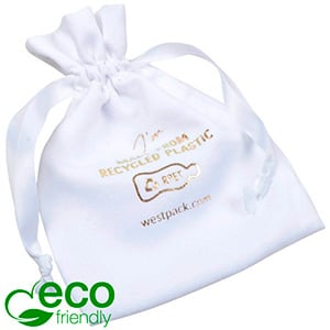 ECO Faux Suede Jewellery Pouch, Large 100% Recycled plastic, White Gift Bag 110 x 155