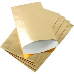 Small Paper Jewellery Bag, 500 pcs Glossy Gold 90 x 150 76 gsm