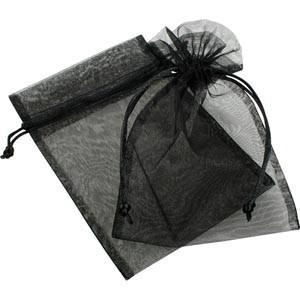 Pochette en organza, taille M Voile organdi noir 120 x 170