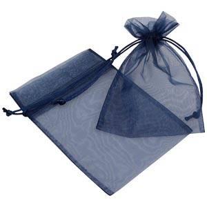 Pochette en organza, taille M Voile organdi bleu foncé 120 x 170