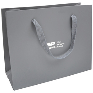 Luxury Cardboard Carrier Bag with Handle, Large Sturdy Grey Kraft Paper/ Woven Grey Handle 250 x 200 x 100 250 gsm