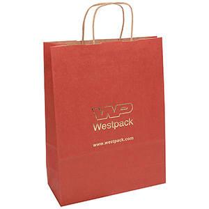 Voordelig draagtasje van kraftpapier, groot Mat rood papier, met nerf 310 x 240 x 100