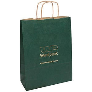 Kraft Paper Carrier Bag with Twisted Handle, Large Dark Green Ribbed Kraft / Twisted Paper Handles 310 x 240 x 100