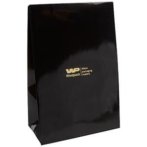 Glanzend cadeauzakje voor sieraden, groot Zwart papier 120 x 180 x 64 170 gsm