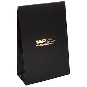 Mat gavepose til smykker, lille Mat sort karton, med hul til bånd 90 x 135 x 45 170 gsm